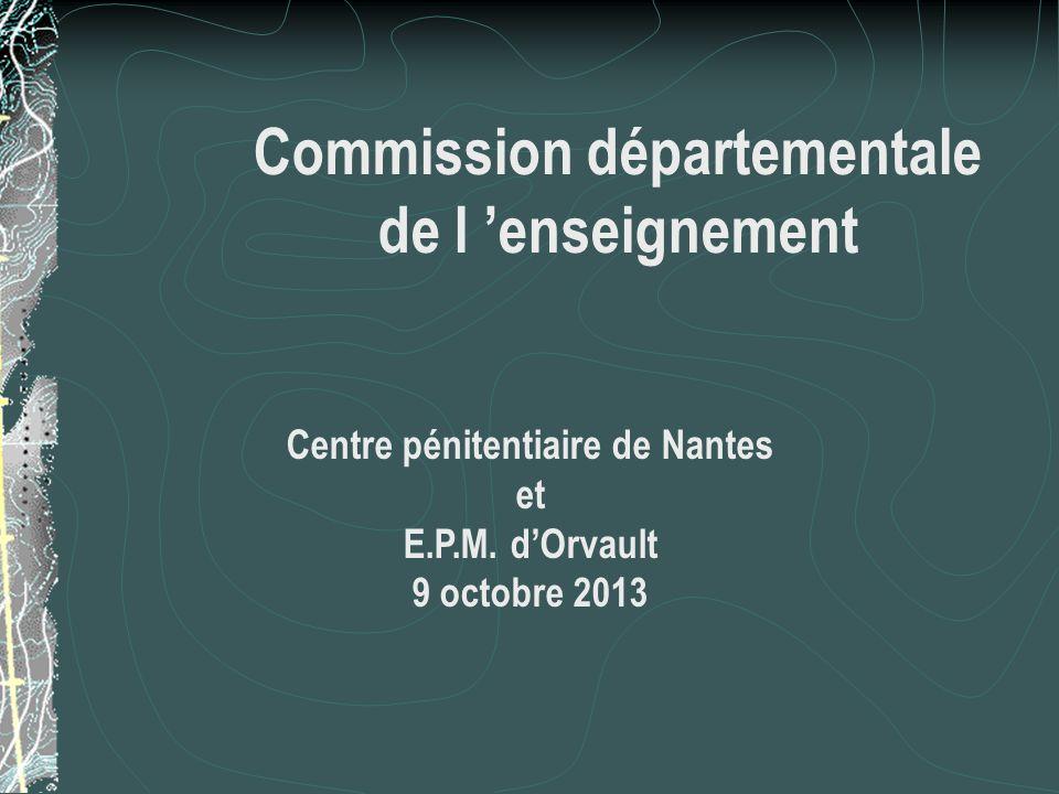 Centre Pénitentiaire de Nantes L'administration pénitentiaire :  7 personnels de direction  2 attachés  14 officiers  8 majors  41 gradés  417 surveillants  41 personnels administratifs  10 personnels techniques