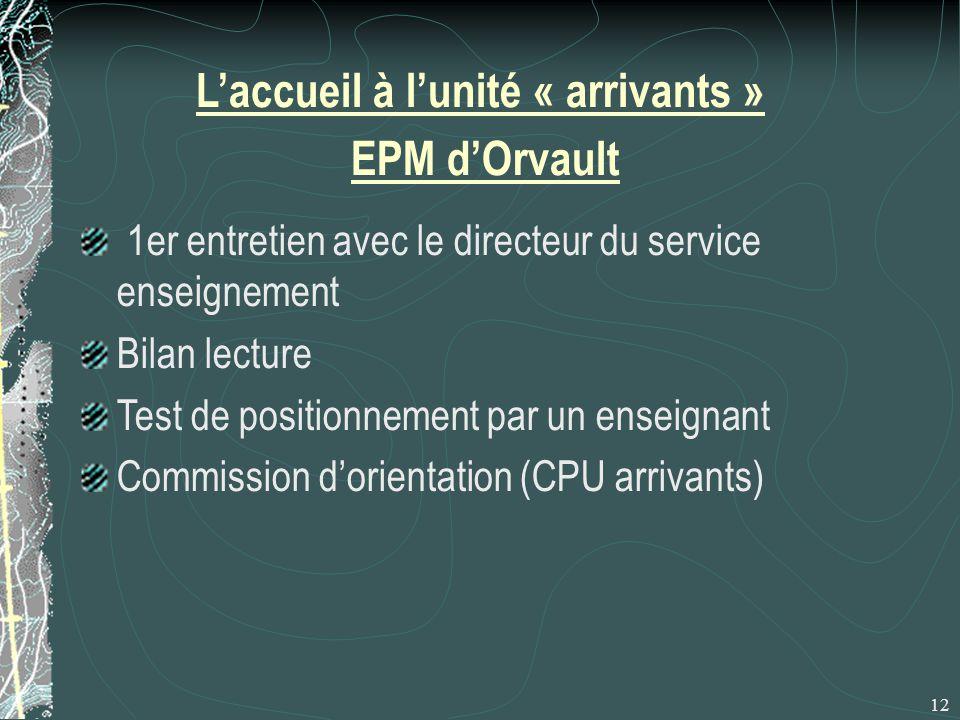 L'accueil à l'unité « arrivants » EPM d'Orvault 1er entretien avec le directeur du service enseignement Bilan lecture Test de positionnement par un enseignant Commission d'orientation (CPU arrivants) 12