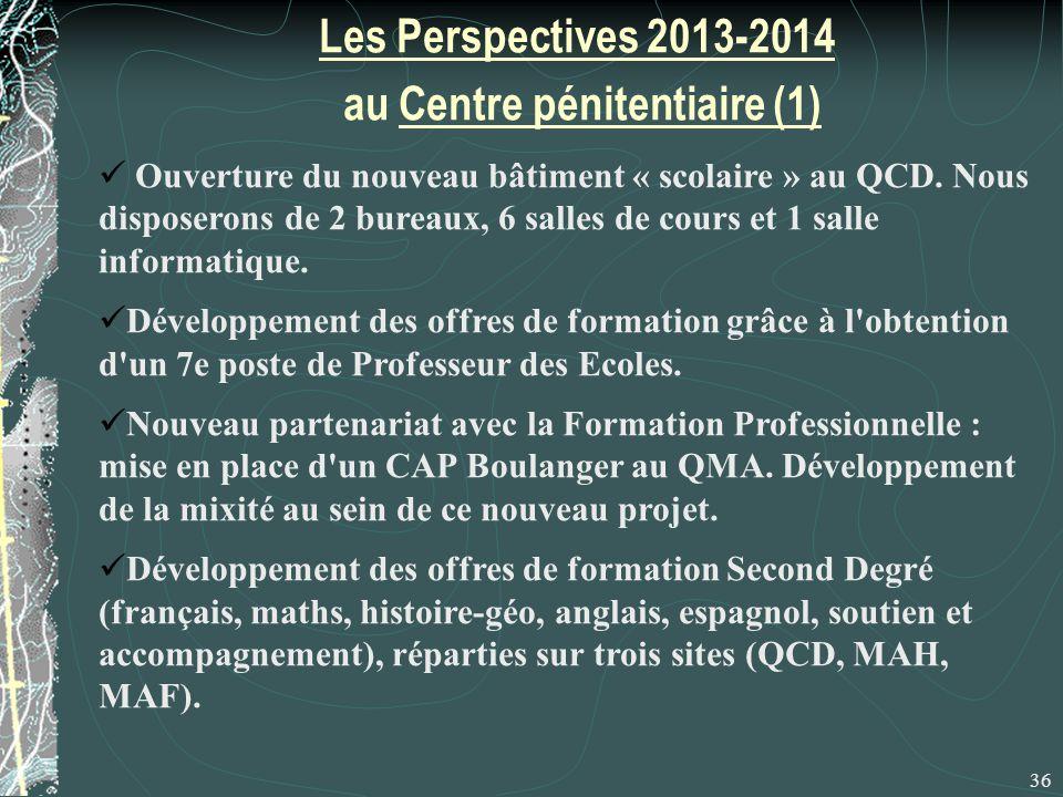 Les Perspectives 2013-2014 au Centre pénitentiaire (1) 36 Ouverture du nouveau bâtiment « scolaire » au QCD.