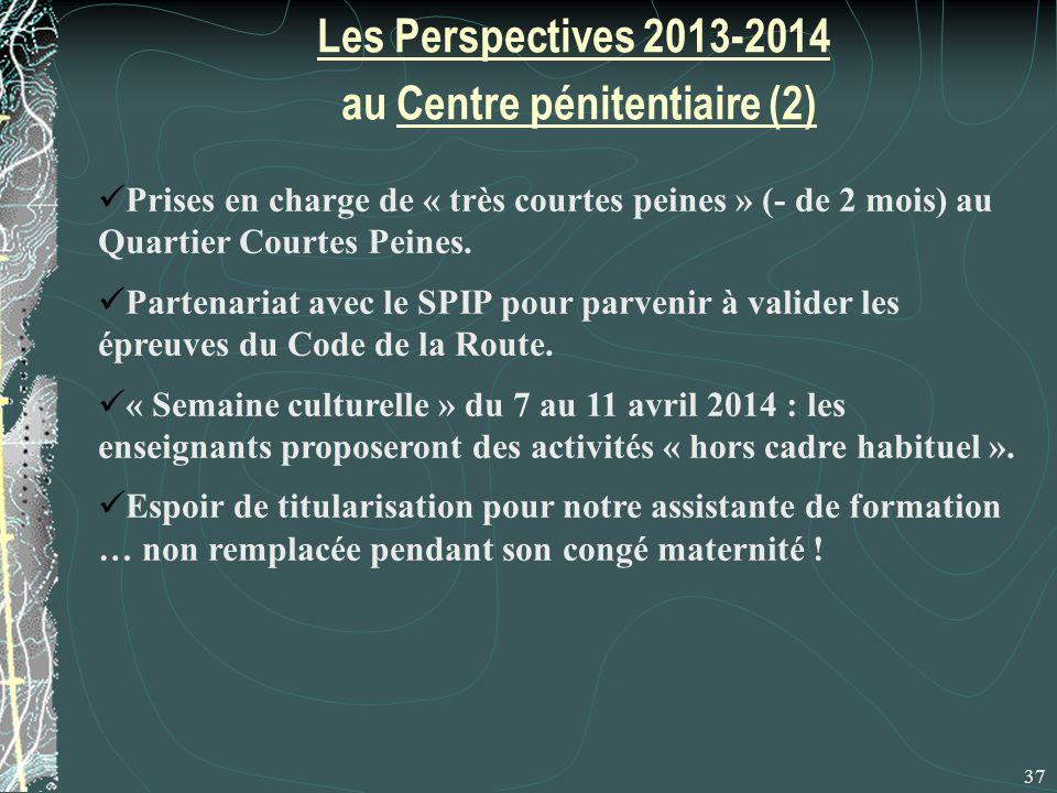 Les Perspectives 2013-2014 au Centre pénitentiaire (2) 37 Prises en charge de « très courtes peines » (- de 2 mois) au Quartier Courtes Peines.