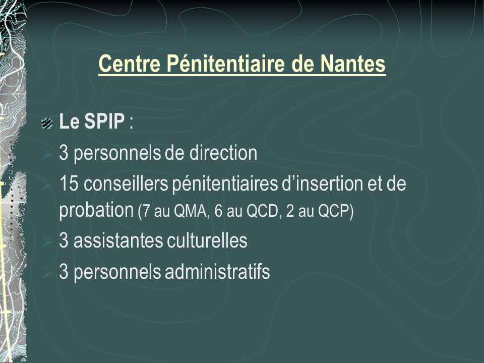 Centre Pénitentiaire de Nantes Le SPIP :  3 personnels de direction  15 conseillers pénitentiaires d'insertion et de probation (7 au QMA, 6 au QCD, 2 au QCP)  3 assistantes culturelles  3 personnels administratifs