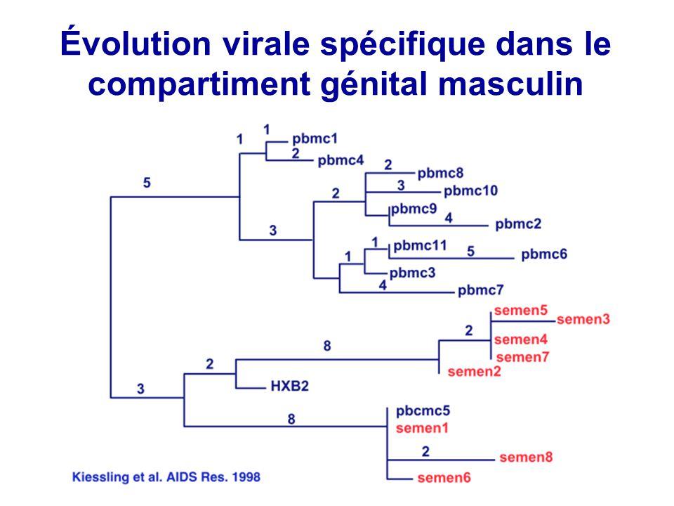 Transmissibilité des virus résistants dans le sperme .