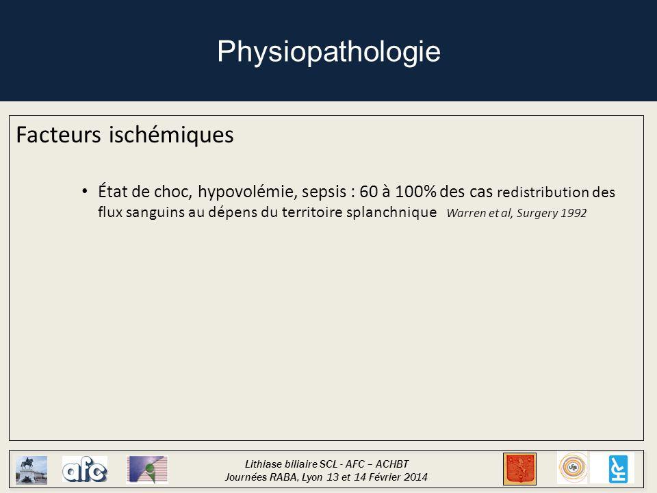 Lithiase biliaire SCL - AFC – ACHBT Journées RABA, Lyon 13 et 14 Février 2014 Physiopathologie Facteurs ischémiques État de choc, hypovolémie, sepsis