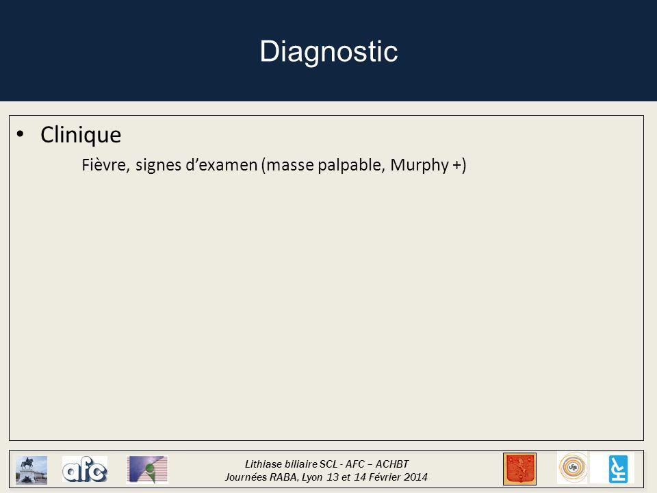 Lithiase biliaire SCL - AFC – ACHBT Journées RABA, Lyon 13 et 14 Février 2014 Diagnostic Clinique Fièvre, signes d'examen (masse palpable, Murphy +)