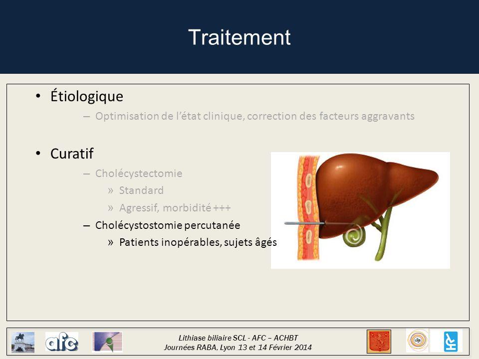 Lithiase biliaire SCL - AFC – ACHBT Journées RABA, Lyon 13 et 14 Février 2014 Traitement Étiologique – Optimisation de l'état clinique, correction des