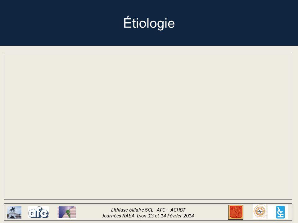 Lithiase biliaire SCL - AFC – ACHBT Journées RABA, Lyon 13 et 14 Février 2014 Étiologie Cholécystite de réanimation Polytraumatisé, interventions lourdes (10%) Grand brûlé (1.5%) Réanimation médicale (0.35%)