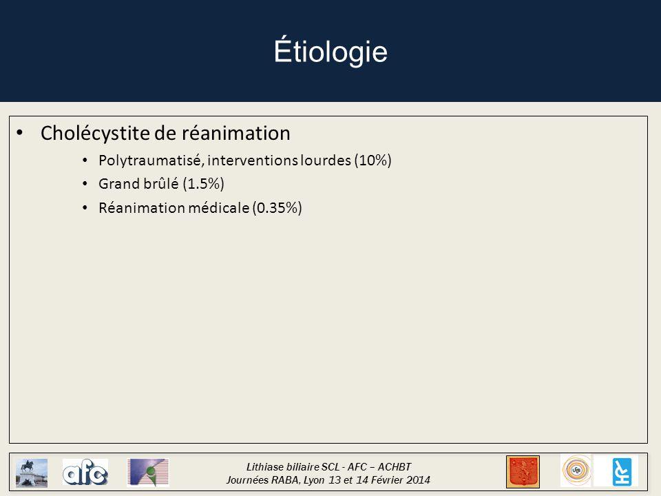 Lithiase biliaire SCL - AFC – ACHBT Journées RABA, Lyon 13 et 14 Février 2014 Étiologie Cholécystite de réanimation Polytraumatisé, interventions lourdes (10%) Grand brûlé (1.5%) Réanimation médicale (0.35%) Cholécystite postopératoire Chirurgie digestive, chirurgie cardiaque Rare (1.5%)