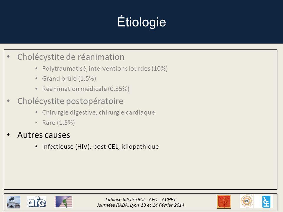Lithiase biliaire SCL - AFC – ACHBT Journées RABA, Lyon 13 et 14 Février 2014 Actuellement, pas de recommandation … Lors d'une suspicion de CAL (clinique, biologique, échographique)