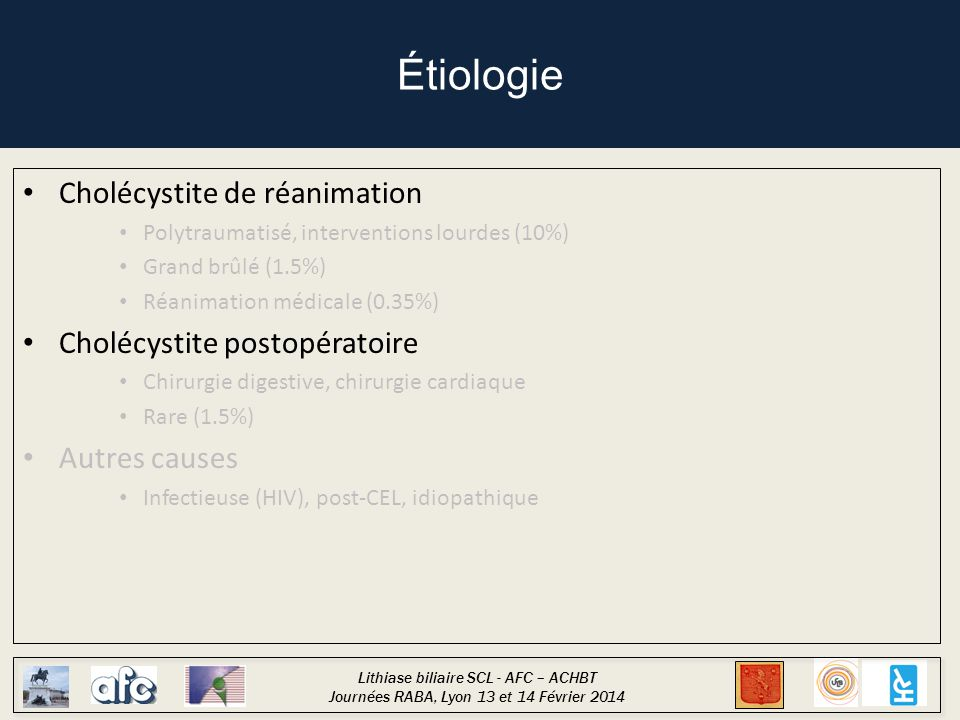Lithiase biliaire SCL - AFC – ACHBT Journées RABA, Lyon 13 et 14 Février 2014 Physiopathologie Facteurs de stase biliaire