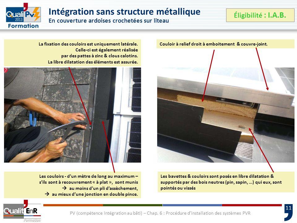 11 Intégration sans structure métallique En couverture ardoises crochetées sur liteau Éligibilité : I.A.B.