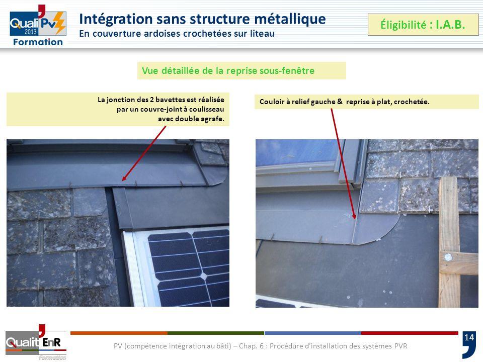 14 Intégration sans structure métallique En couverture ardoises crochetées sur liteau Éligibilité : I.A.B.