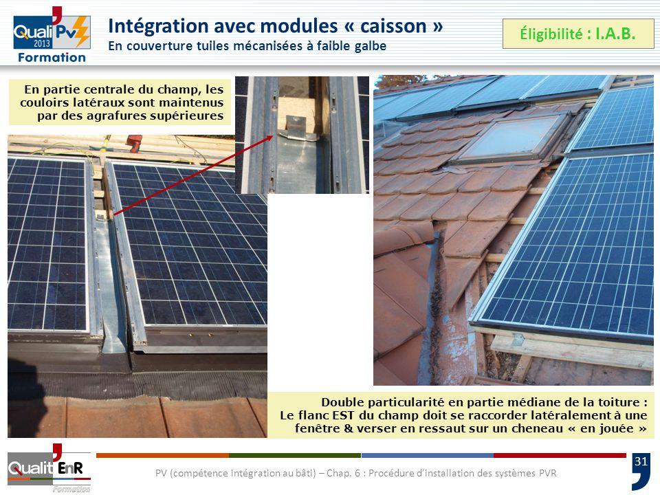 31 Double particularité en partie médiane de la toiture : Le flanc EST du champ doit se raccorder latéralement à une fenêtre & verser en ressaut sur un cheneau « en jouée » PV (compétence intégration au bâti) – Chap.