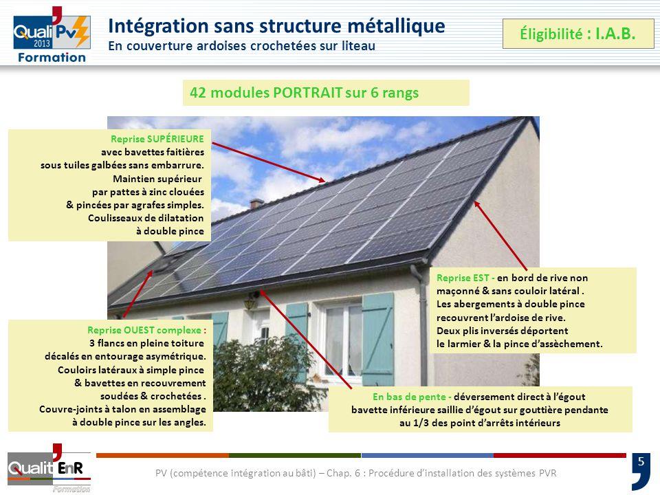 5 Intégration sans structure métallique En couverture ardoises crochetées sur liteau Éligibilité : I.A.B.