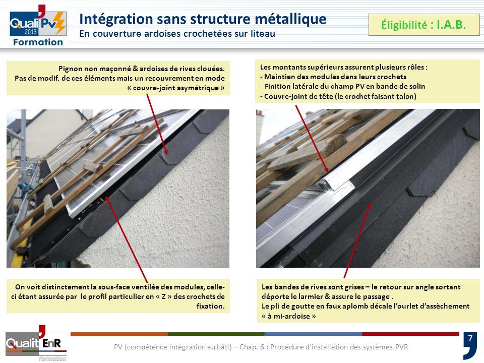 7 Intégration sans structure métallique En couverture ardoises crochetées sur liteau Éligibilité : I.A.B.