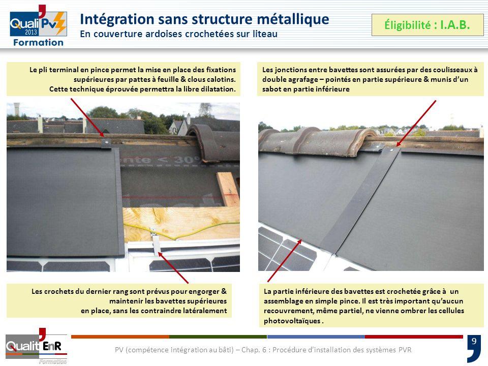 9 Intégration sans structure métallique En couverture ardoises crochetées sur liteau Éligibilité : I.A.B.