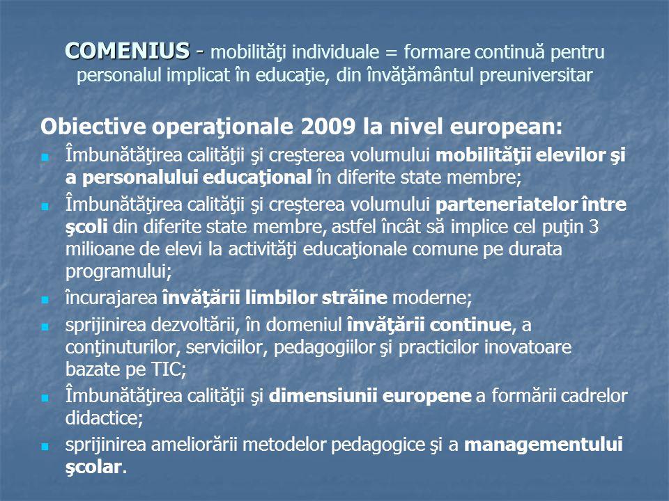 COMENIUS - COMENIUS - mobilităţi individuale = formare continuă pentru personalul implicat în educaţie, din învăţământul preuniversitar Obiective operaţionale 2009 la nivel european: Îmbunătăţirea calităţii şi creşterea volumului mobilităţii elevilor şi a personalului educaţional în diferite state membre; Îmbunătăţirea calităţii şi creşterea volumului parteneriatelor între şcoli din diferite state membre, astfel încât să implice cel puţin 3 milioane de elevi la activităţi educaţionale comune pe durata programului; încurajarea învăţării limbilor străine moderne; sprijinirea dezvoltării, în domeniul învăţării continue, a conţinuturilor, serviciilor, pedagogiilor şi practicilor inovatoare bazate pe TIC; Îmbunătăţirea calităţii şi dimensiunii europene a formării cadrelor didactice; sprijinirea ameliorării metodelor pedagogice şi a managementului şcolar.