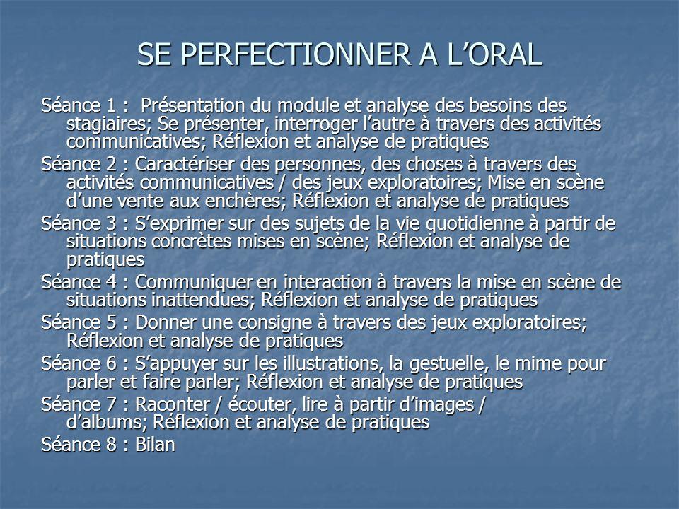 SE PERFECTIONNER A L'ORAL Séance 1 : Présentation du module et analyse des besoins des stagiaires; Se présenter, interroger l'autre à travers des acti