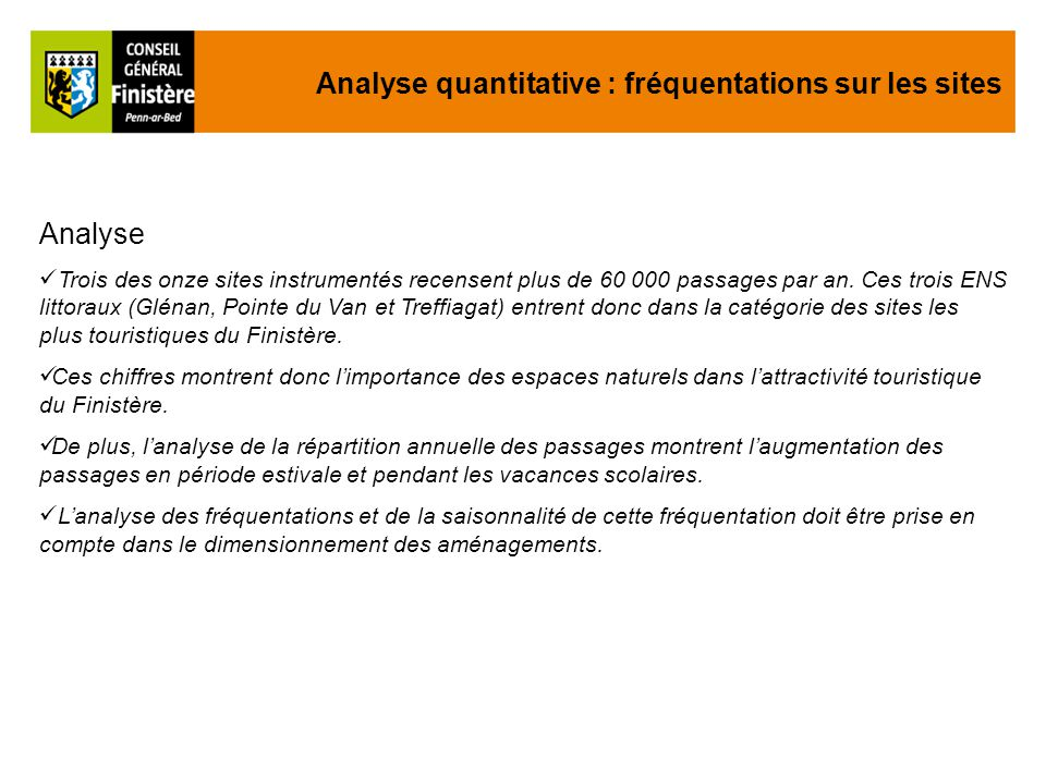 Analyse Trois des onze sites instrumentés recensent plus de 60 000 passages par an.