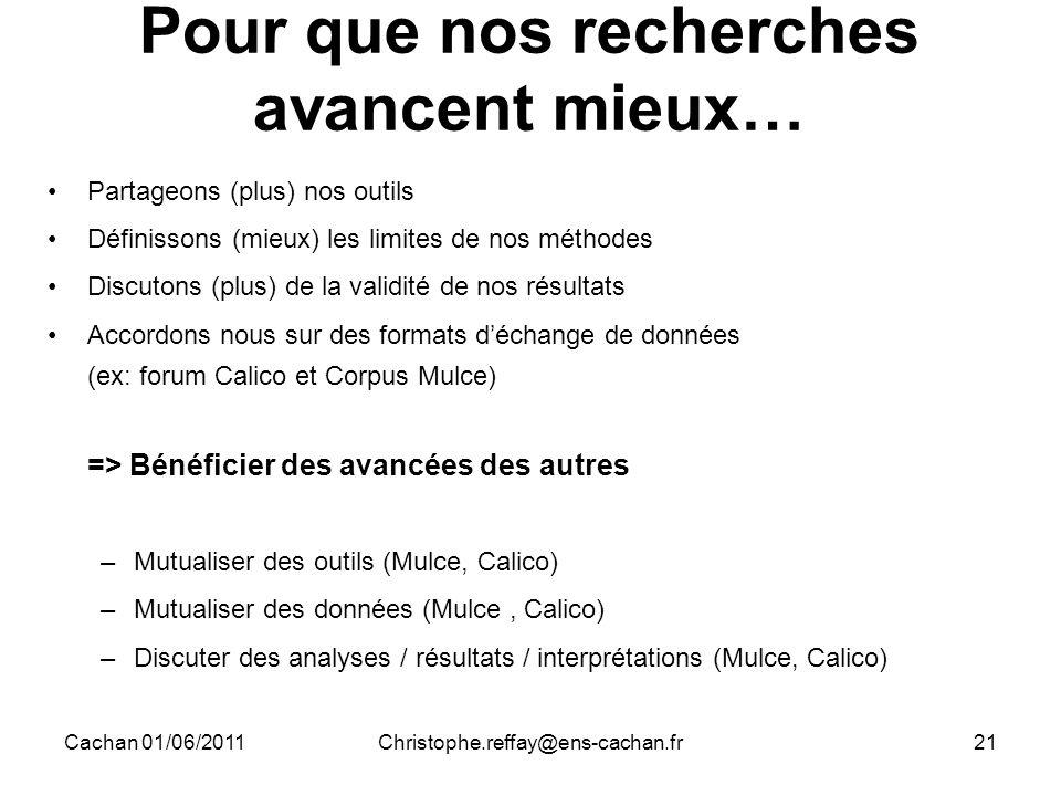 Cachan 01/06/2011Christophe.reffay@ens-cachan.fr21 Pour que nos recherches avancent mieux… Partageons (plus) nos outils Définissons (mieux) les limite