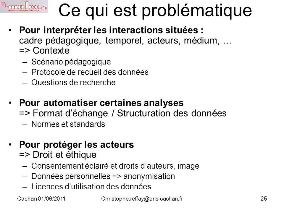 Cachan 01/06/2011Christophe.reffay@ens-cachan.fr25 Ce qui est problématique Pour interpréter les interactions situées : cadre pédagogique, temporel, a