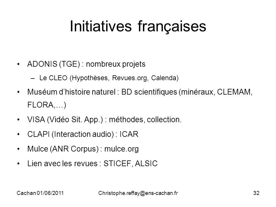 Cachan 01/06/2011Christophe.reffay@ens-cachan.fr32 Initiatives françaises ADONIS (TGE) : nombreux projets –Le CLEO (Hypothèses, Revues.org, Calenda) M