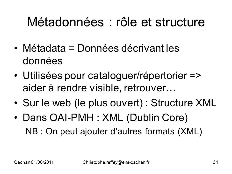 Cachan 01/06/2011Christophe.reffay@ens-cachan.fr34 Métadonnées : rôle et structure Métadata = Données décrivant les données Utilisées pour cataloguer/