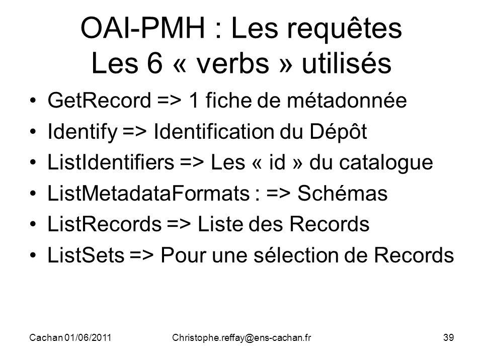 Cachan 01/06/2011Christophe.reffay@ens-cachan.fr39 OAI-PMH : Les requêtes Les 6 « verbs » utilisés GetRecord => 1 fiche de métadonnée Identify => Iden