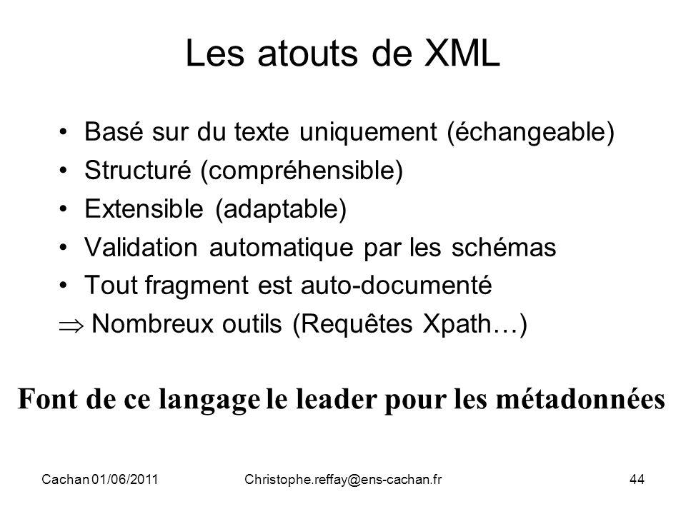 Cachan 01/06/2011Christophe.reffay@ens-cachan.fr44 Les atouts de XML Basé sur du texte uniquement (échangeable) Structuré (compréhensible) Extensible