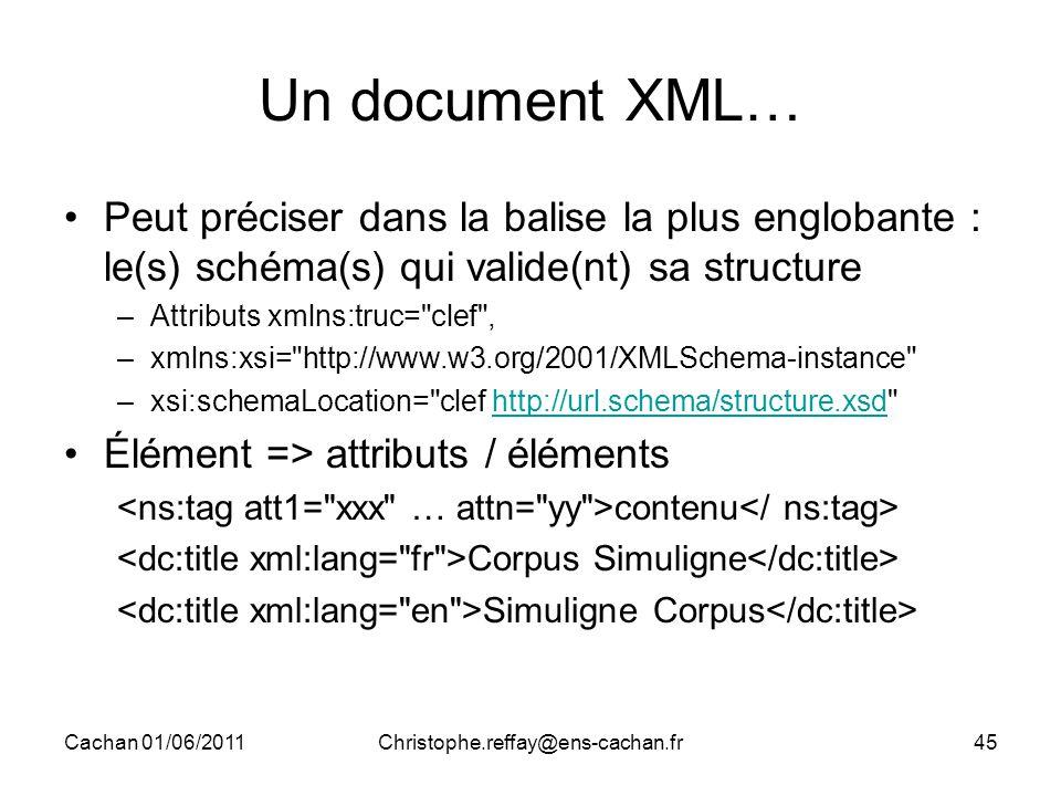 Cachan 01/06/2011Christophe.reffay@ens-cachan.fr45 Un document XML… Peut préciser dans la balise la plus englobante : le(s) schéma(s) qui valide(nt) s
