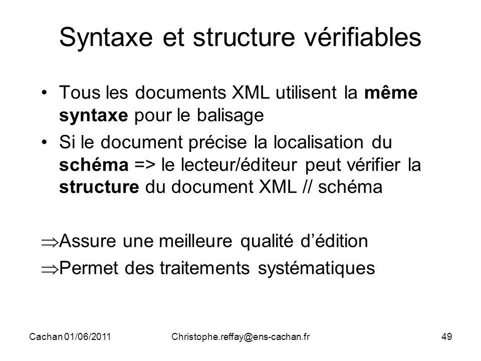 Cachan 01/06/2011Christophe.reffay@ens-cachan.fr49 Syntaxe et structure vérifiables Tous les documents XML utilisent la même syntaxe pour le balisage