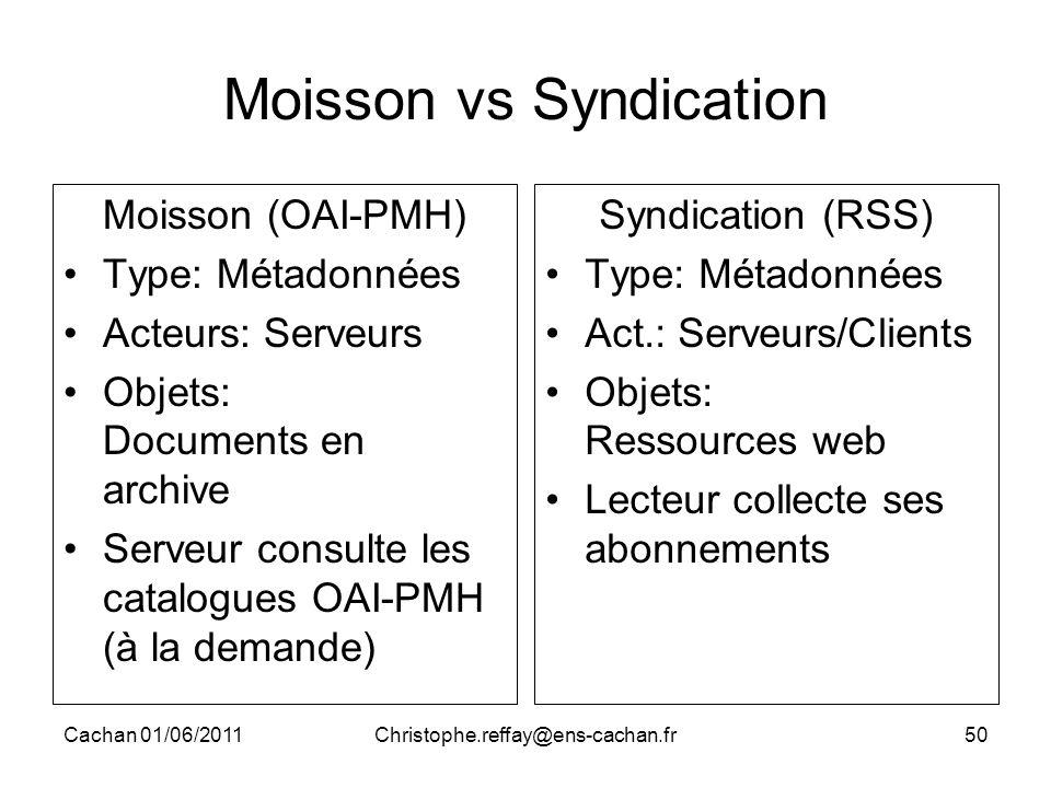 Cachan 01/06/2011Christophe.reffay@ens-cachan.fr50 Moisson vs Syndication Moisson (OAI-PMH) Type: Métadonnées Acteurs: Serveurs Objets: Documents en a