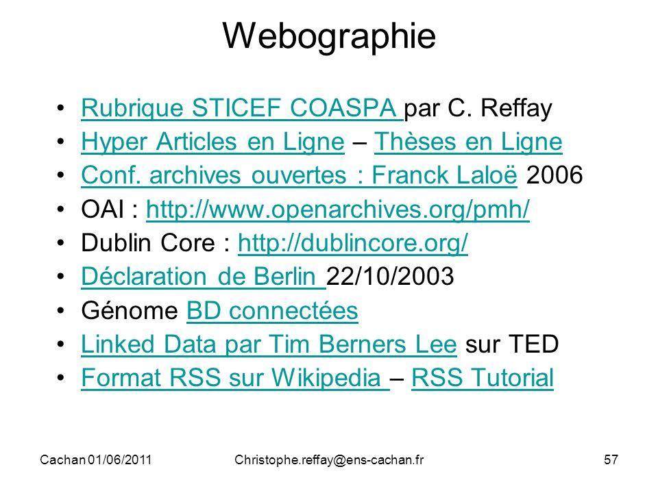 Cachan 01/06/2011Christophe.reffay@ens-cachan.fr57 Webographie Rubrique STICEF COASPA par C. ReffayRubrique STICEF COASPA Hyper Articles en Ligne – Th