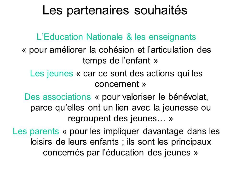 Les partenaires souhaités L'Education Nationale & les enseignants « pour améliorer la cohésion et l'articulation des temps de l'enfant » Les jeunes «
