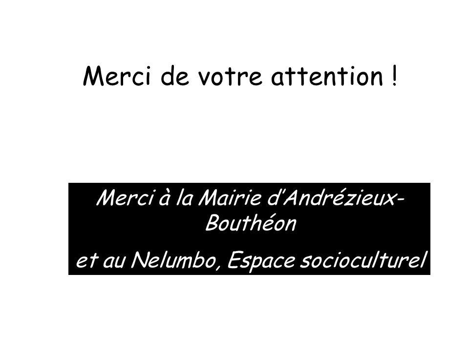 Merci de votre attention ! Merci à la Mairie d'Andrézieux- Bouthéon et au Nelumbo, Espace socioculturel