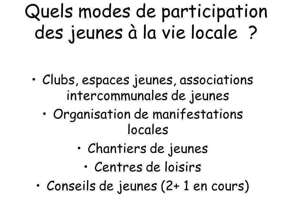 Quels modes de participation des jeunes à la vie locale ? Clubs, espaces jeunes, associations intercommunales de jeunes Organisation de manifestations