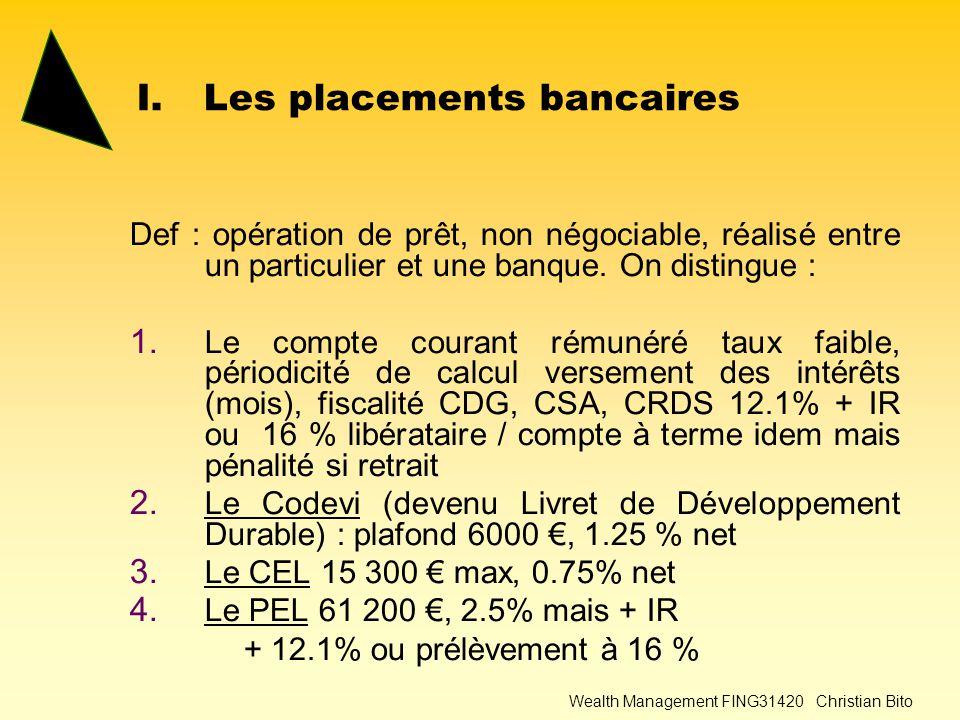 Wealth Management FING31420 Christian Bito I.Les placements bancaires Def : opération de prêt, non négociable, réalisé entre un particulier et une banque.
