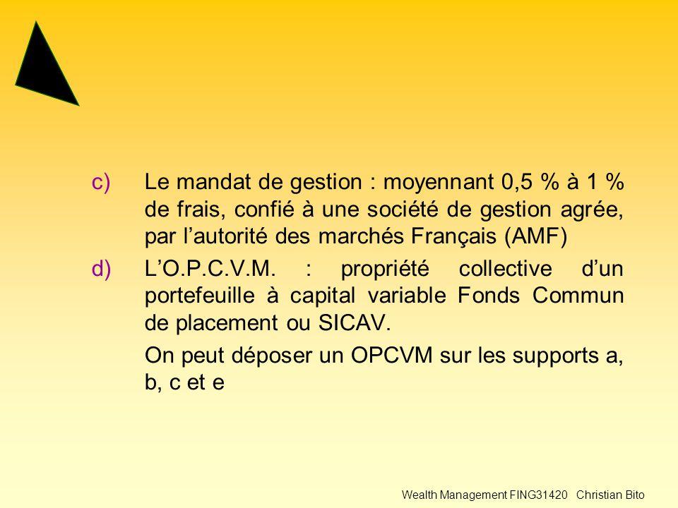 Wealth Management FING31420 Christian Bito c)Le mandat de gestion : moyennant 0,5 % à 1 % de frais, confié à une société de gestion agrée, par l'autorité des marchés Français (AMF) d)L'O.P.C.V.M.