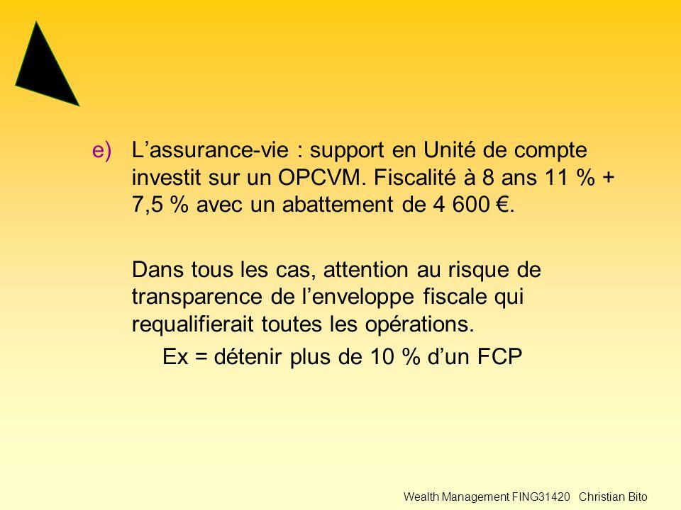 Wealth Management FING31420 Christian Bito e)L'assurance-vie : support en Unité de compte investit sur un OPCVM.