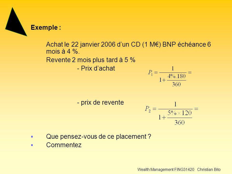 Wealth Management FING31420 Christian Bito Exemple : Achat le 22 janvier 2006 d'un CD (1 M€) BNP échéance 6 mois à 4 %.