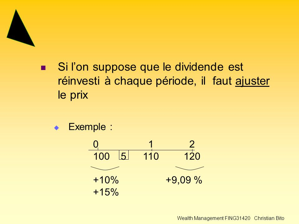 Wealth Management FING31420 Christian Bito Si l'on suppose que le dividende est réinvesti à chaque période, il faut ajuster le prix  Exemple : 0 1 2 100 5 110 120 +10% +9,09 % +15%