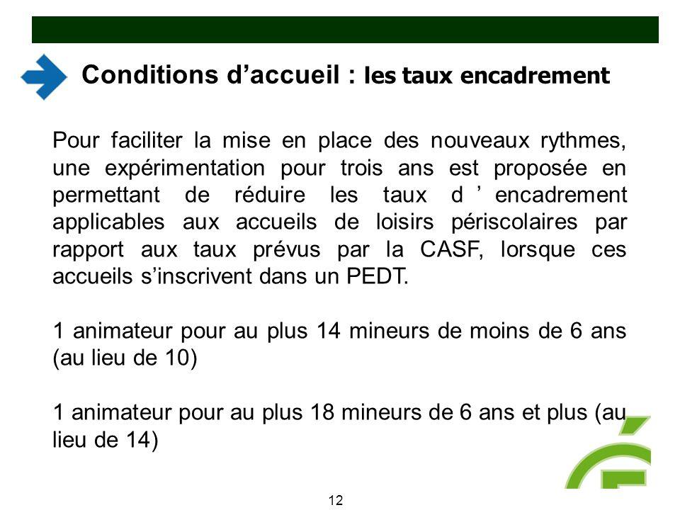 Conditions d'accueil : les taux encadrement 12 Pour faciliter la mise en place des nouveaux rythmes, une expérimentation pour trois ans est proposée e