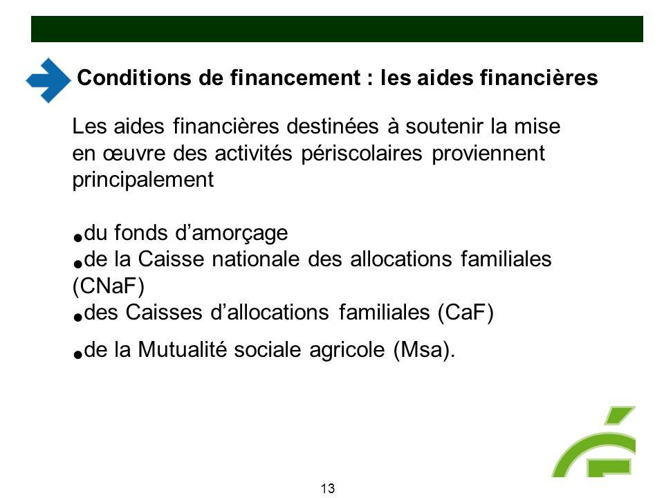 Conditions de financement : les aides financières 13 Les aides financières destinées à soutenir la mise en œuvre des activités périscolaires provienne