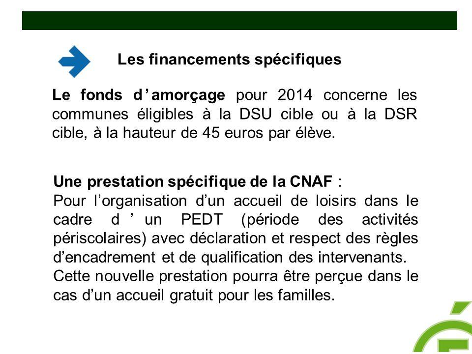 Le fonds d'amorçage pour 2014 concerne les communes éligibles à la DSU cible ou à la DSR cible, à la hauteur de 45 euros par élève. Une prestation spé