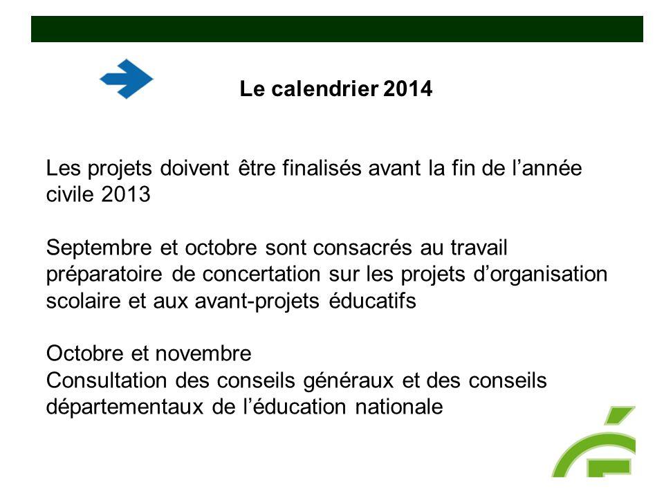 Les projets doivent être finalisés avant la fin de l'année civile 2013 Septembre et octobre sont consacrés au travail préparatoire de concertation sur
