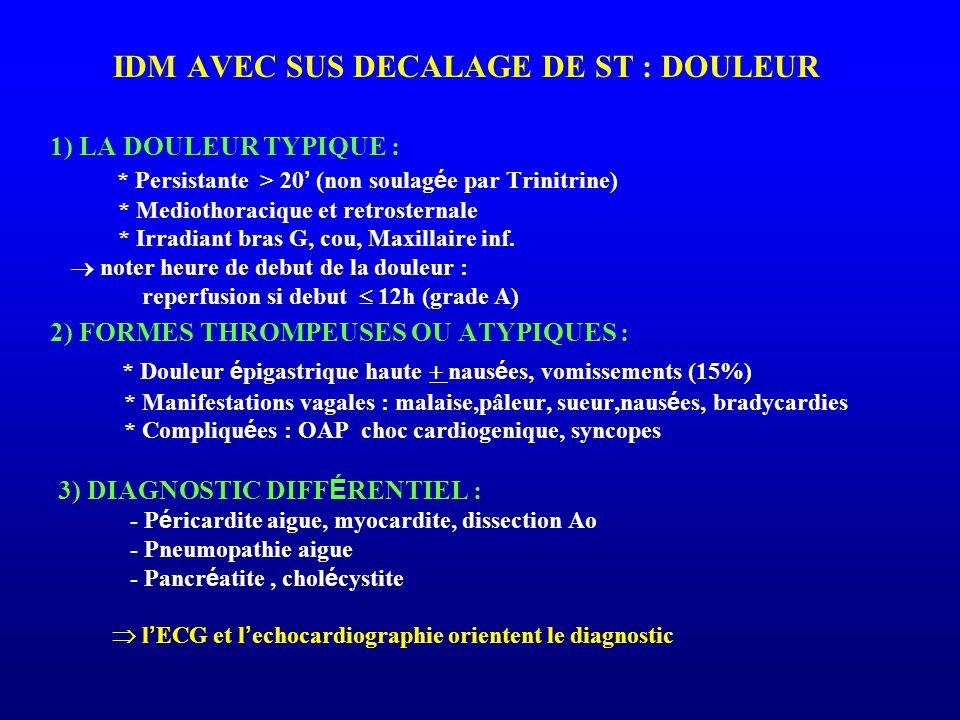 IDM AVEC SUS DECALAGE DE ST : DOULEUR 1) LA DOULEUR TYPIQUE : * Persistante > 20 ' (non soulag é e par Trinitrine) * Mediothoracique et retrosternale