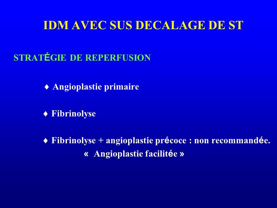 IDM AVEC SUS DECALAGE DE ST STRAT É GIE DE REPERFUSION  Angioplastie primaire  Fibrinolyse  Fibrinolyse + angioplastie pr é coce : non recommand é