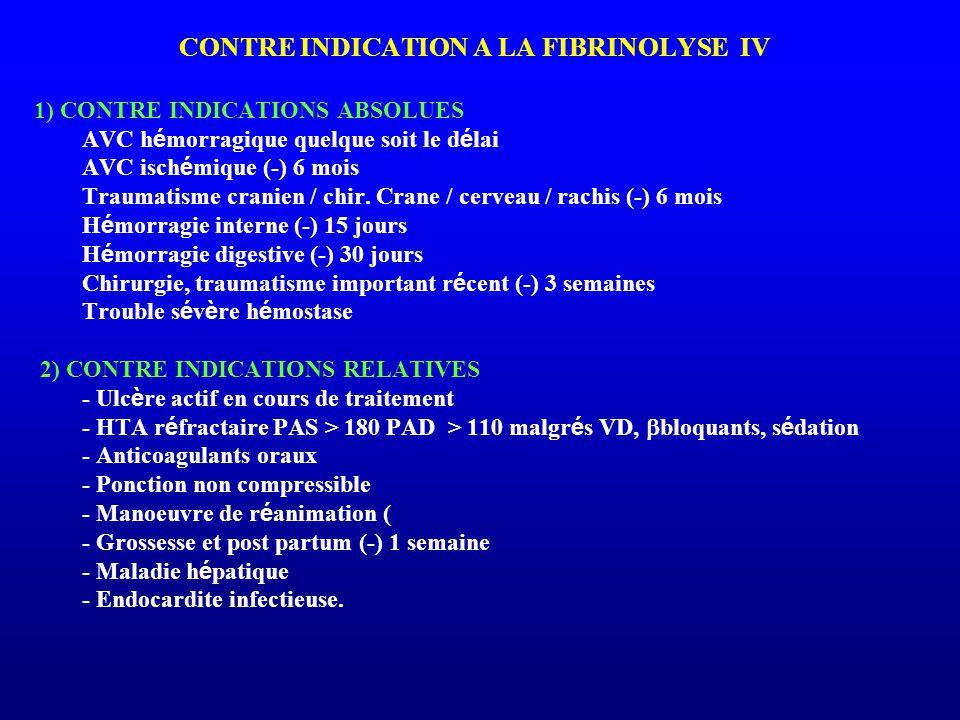 CONTRE INDICATION A LA FIBRINOLYSE IV 1) CONTRE INDICATIONS ABSOLUES AVC h é morragique quelque soit le d é lai AVC isch é mique (-) 6 mois Traumatism