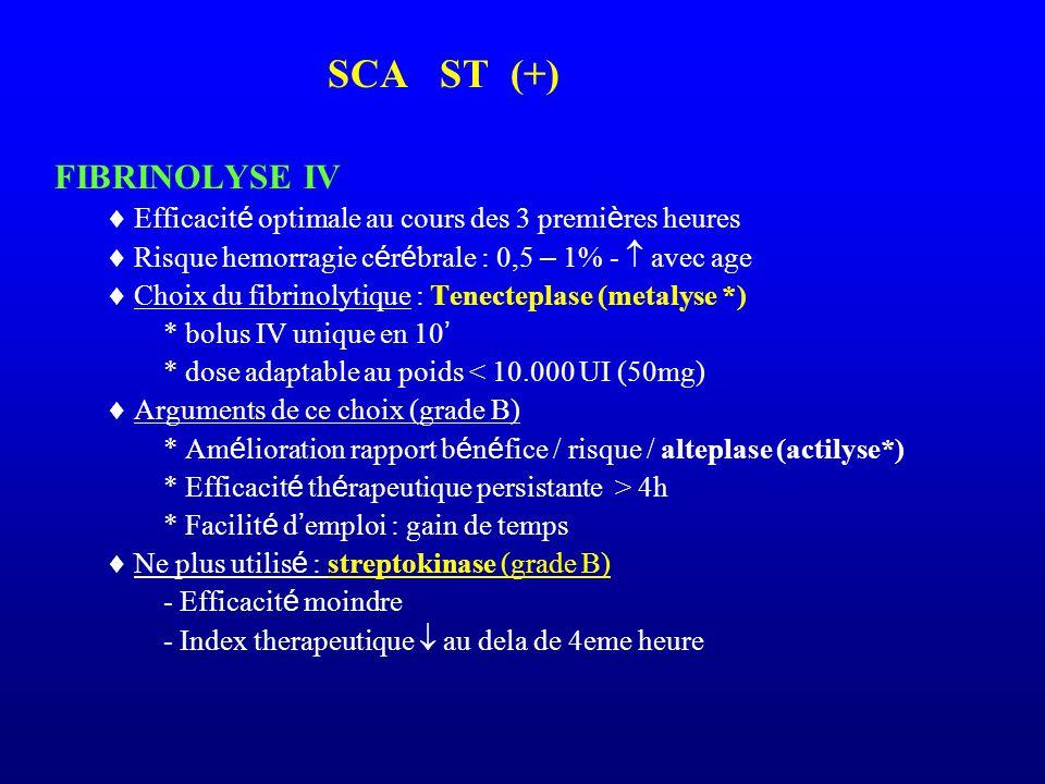 SCA ST (+) FIBRINOLYSE IV  Efficacit é optimale au cours des 3 premi è res heures  Risque hemorragie c é r é brale : 0,5 – 1% -  avec age  Choix d