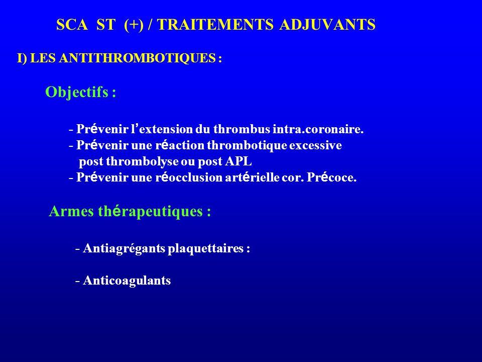 SCA ST (+) / TRAITEMENTS ADJUVANTS I) LES ANTITHROMBOTIQUES : Objectifs : - Pr é venir l ' extension du thrombus intra.coronaire. - Pr é venir une r é