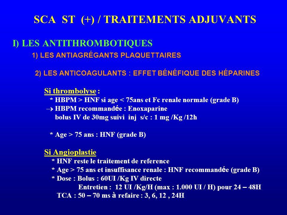 SCA ST (+) / TRAITEMENTS ADJUVANTS I) LES ANTITHROMBOTIQUES 1) LES ANTIAGRÉGANTS PLAQUETTAIRES 2) LES ANTICOAGULANTS : EFFET BÉNÉFIQUE DES HÉPARINES S